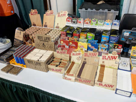 Honolulu - February 10, 2018: Smoking accessories at Booth at the 3rd Annual Hawaii Cannabis Expo at the 3rd Annual Hawaii Cannabis Expo inside the Neal S Blaisdell Exhibition Hall, Honolulu, Hawaii. Sajtókép