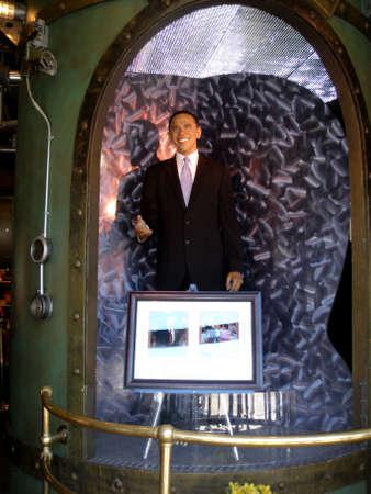 San Francisco - June 28, 2009: Wax statue of President Barak Obama on display at Madame Tussauds San Francisco.