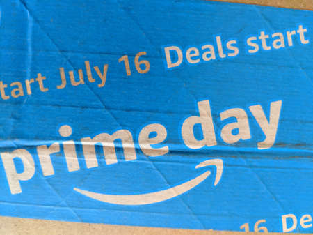 Honolulu -  July 17, 2018:  Amazon Prime Day on blue tape on Packaging.  Prime Day is Amazon's biggest, global shopping event exclusively for Prime members. Prime Day 2018 was a day and a half of our best deals that started on July 16, 2018.