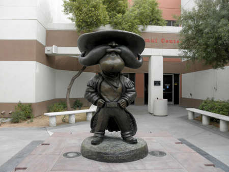 Las Vegas -  February 5, 2010: Hey Reb, a Western frontiersman, Statue at UNLV .  Unveiled in September 2007 in the Courtyard of the Richard Tam Alumni Center. Editorial