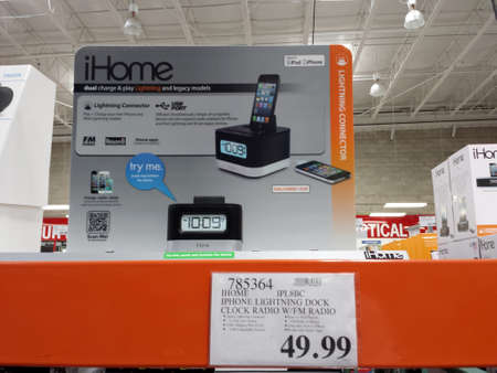 Honolulu - October 15, 2013:  iHome for sale inside of Costco Store.  iHome is a bedside speakers to wireless charging alarm clocks iHome.