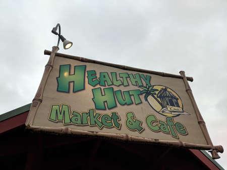 Kauai - April 6, 2018: Healthy Hut - Market and Cafe Sign.  Healthy Hut is located off Kuhio Highway on Ho'okui Road in Kilauea on Kaua'i's North Shore.