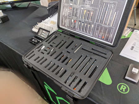 Honolulu - February 10, Case filled with Cartridges and Tips for Marijuana pens at Booth at the 3rd Annual Hawaii Cannabis Expo at the 3rd Annual Hawaii Cannabis Expo inside the Neal S Blaisdell Exhibition Hall, Honolulu, Hawaii.