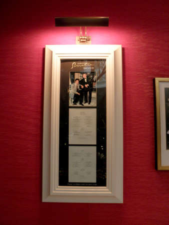 Las Vegas -  February 7, 2010:  Sinatra Menu with photo of Steve Wynn and Frank Sinatra.  Sinatra is an upscale Italian eatery in the Encore features Sinatra's Academy Award & other memorabilia inside the Encore Hotel.