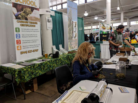 Honolulu - February 10, 2018: Cannabis Trimmer Certification Booth at the 3rd Annual Hawaii Cannabis Expo at the 3rd Annual Hawaii Cannabis Expo inside the Neal S Blaisdell Exhibition Hall, Honolulu, Hawaii.
