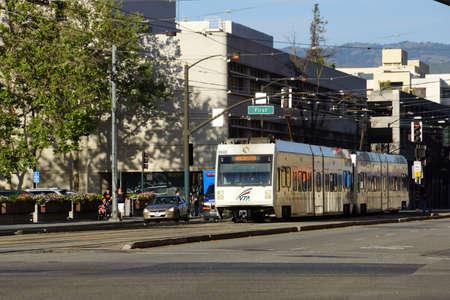 San Jose - March 28, 2015: VTA train transit lightrail rides down street 'Winchester' bound in San Jose, California.