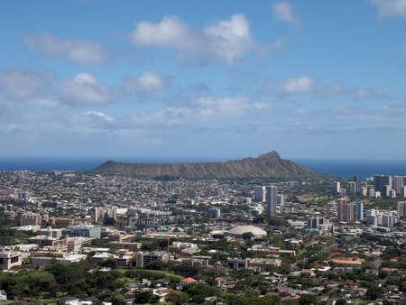 Aerial view of Diamondhead, Kapahulu, Kahala, Pacific ocean on Oahu, Hawaii. May 2012.