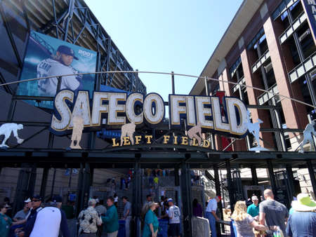Seattle - June 26, 2016: People enter into Left Field Gate to Safeco Field. Home of the Seattle Mariners. Sajtókép