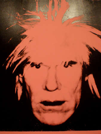SAN FRANCISCO - JANUARY 25: Close-up of one photo of larger art piece World Famous Andy Warhol - Self-Portrait, c.1986 (Four Pink Andys) made with painting   synthetic polymer paint and silkscreen ink on canvas. Taken January 25, 2010 at the San Francisc