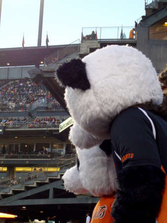 San Francisco, CA - June 14, 2010: Two People wearing Pandas masks watching baseball game from stands at AT&T Park.