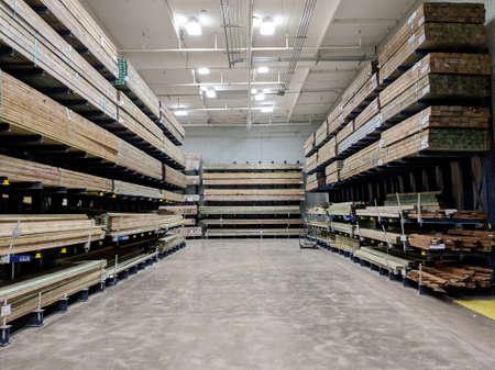 Honolulu - June 18, 2018: Rows of Wood Lumber For Sale Inside Lowe's Home Improvement store.