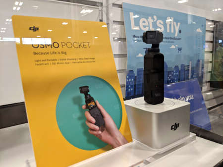 Honolulu - March 16, 2019: DJI Osmo Pocket on Display at Best Buy. Experience smooth and stable image quality wherever you are. DJI Osmo Pocket is a 3-axis stabilized handheld camera that adjusts your movements.