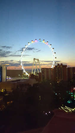 Las Vegas - June 27, 2015 - The High Roller Wheel light up at dawn at the center of the Las Vegas Strip on June 27, 2015 in Las Vegas. The High Roller is the worlds largest observation wheel.