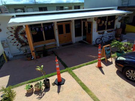 Honolulu - July 8, 2017: Aerial of Hikina Yoga Studio in Honolulu, Hawaii.