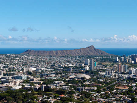 Aerial view of Diamondhead, Kapahulu, Kahala, Pacific ocean on Oahu, Hawaii.