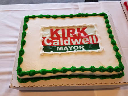 Honolulu - August 6, 2016: Kirk Caldwell Mayor Cake on display at Event.  Mayor Kirk Caldwell is an American politician who is the 14th and current Mayor of Honolulu, Hawaii, since 2013.