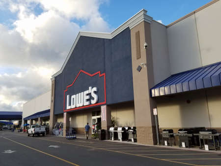 Honolulu - August 9, 2016: Lowe's Store and Sign.  Lowe's Companies, Inc. is an American company that operates a chain of retail home improvement and appliance stores in the United States, Canada, and Mexico.