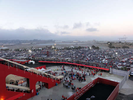 San Francisco - September 3, 2011:  Candlestick Entrance and Parking lot as people leave after game at Candlestick Stadium in California.