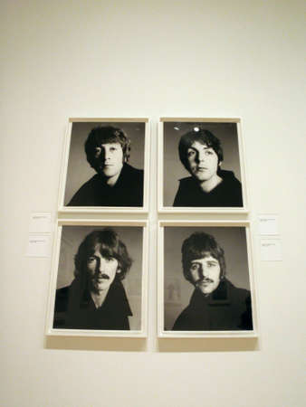San Francisco - September 11, 2009: Portraits of The Beatles photographed by Richard Avedon on display at the SFMOMA. Photos were taken Friday 11 August 1967 at the photographic studio in a penthouse in Thompson House, 200 Gray's Inn Road, London.