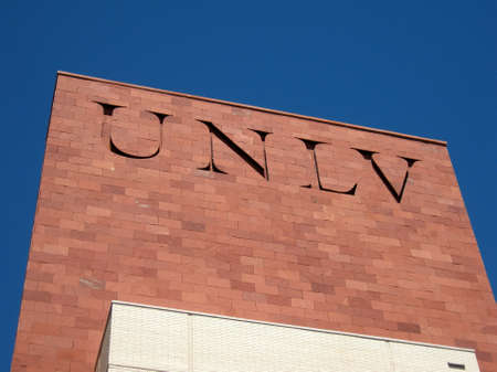 Las Vegas -  September 5, 2011:  UNLV Logo on side of Red Brick building. The University of Nevada, Las Vegas is a public research university in the Las Vegas suburb of Paradise, Nevada. The 332-acre campus is about 1.6 mi east of the Las Vegas Strip.