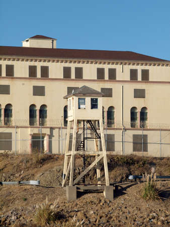 California -  October 9, 2010:  Lookout tower at San Quentin State Prison California taken from a passing ferry. Editorial