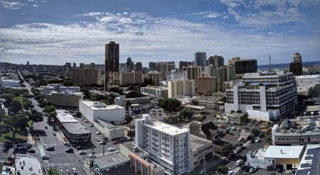 Honolulu - September 16, 2019:  Aerial of Honolulu Ala Moana Area with McDonalds, and Walmart, Buildings, roads and Condos with Pacific Ocean stretching into the distance on nice day. Editorial