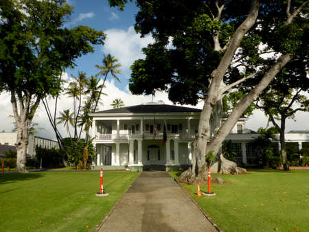 Honolulu - November 14, 2017: Washington Place, Built in 1847, this mansion has been the home of Hawaii's rulers, starting with Queen Lili'uokalani. 報道画像