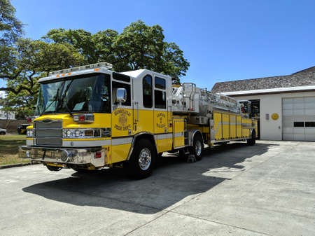 Waikiki - May 7, 2019: Fire Truck parked at Fire Station 07 Waikīkī  during the day.