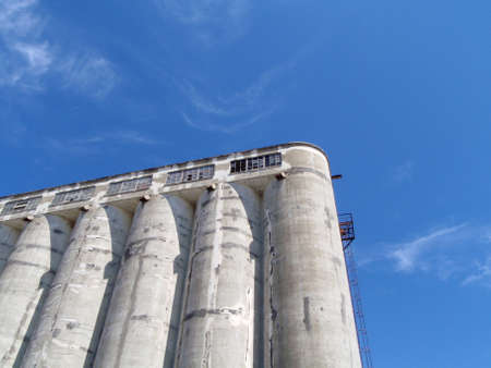 San Francisco  - June 20, 2008: Old Grain Silo at Pier 90. Built in 1920's, the grain terminal had a mill to serve local needs.  Theses operations were discontinued following the 1989 Loma Prieta earthquake.