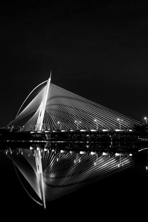 Putrajaya, Malaysia - August 19, 2016 - The night view of Seri Wawasan Bridge located in Putrajaya, Malaysia Editorial