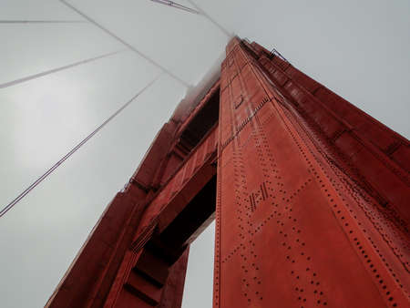 Looking Up at the Golden Gate Bridge, California, United States of America