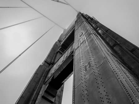 Looking Up at The Golden Gate Bridge, California, United States of America (Black and White)