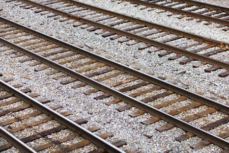 Several Parallel Railroad Tracks In A Rail Yard
