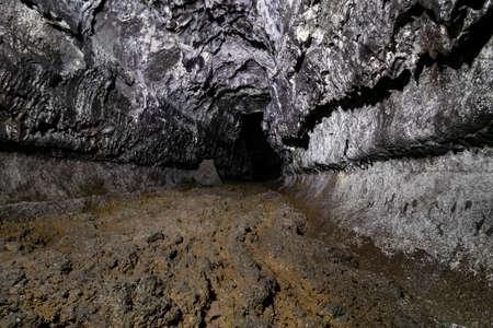 Dark, Underground Lava Tube At Kaumana Caves State Park In Hilo, Big Island, Hawaii, USA