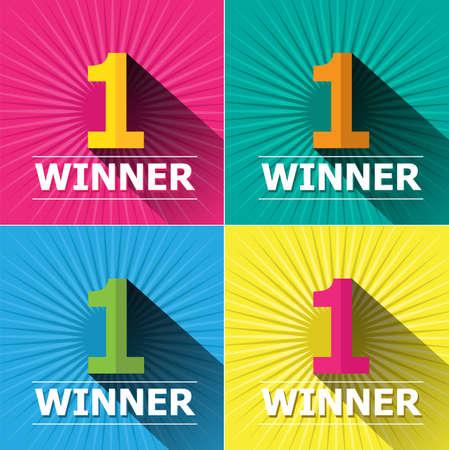 primer lugar: Dise�o plano colores brillantes n�mero uno ganador del primer lugar e insignias