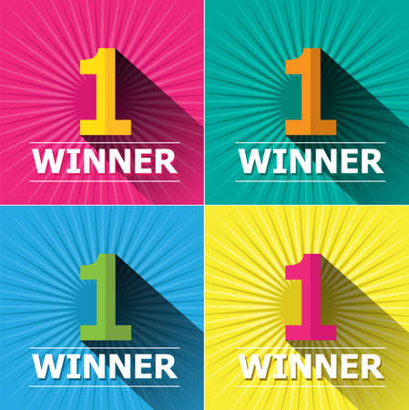 first place: Flat design bright colors number one first place winner and badges