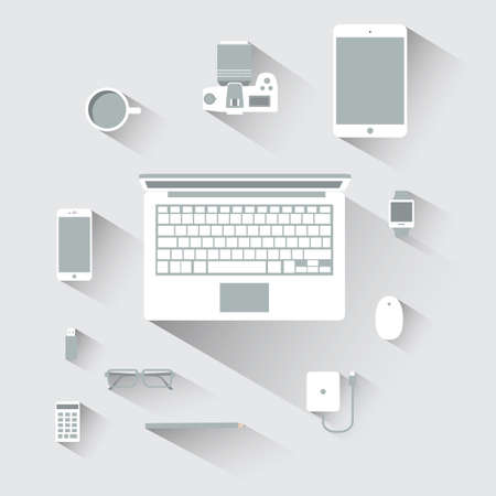 mouse pad: Flat design devices computer vector illustration concept
