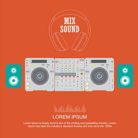 turntables: flat design dj mixer sound turntables icons