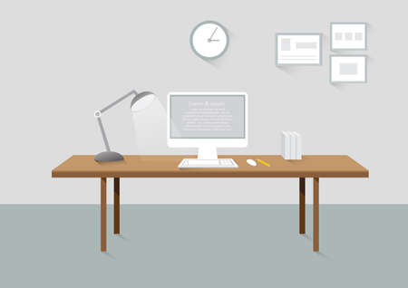 office interior: Workplace room creative office design elements flat design with long shadows Illustration