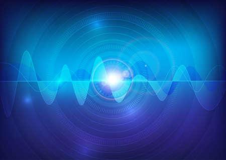puls: fala dźwiękowa wektora impulsu streszczenie technologii tle Ilustracja
