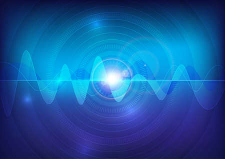 wave sound vector pulse abstract technology background Ilustração