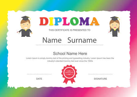 preschool kids elementary school diploma certificate design template background stock vector 42175504