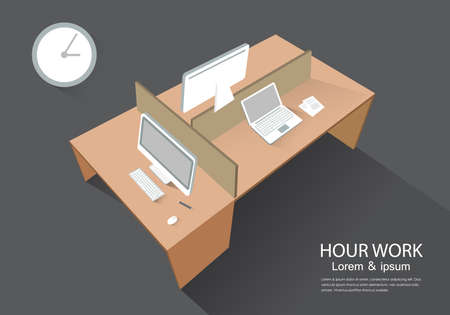 perspective: Computer desk perspective view modern vector illustration workplace Illustration