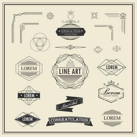 Set of retro vintage linear thin line art deco design elements geometric shape with frame corner badge 일러스트