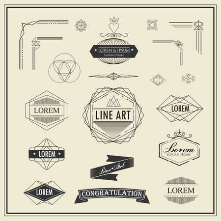Set of retro vintage linear thin line art deco design elements geometric shape with frame corner badge Çizim