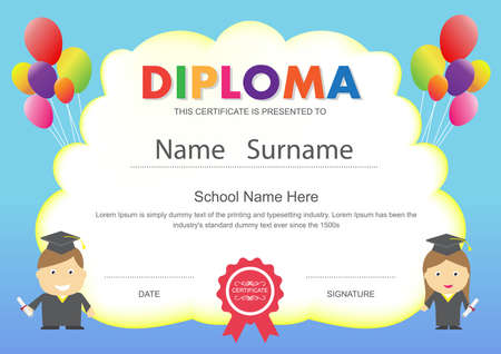 preschool kids elementary school diploma certificate design template background