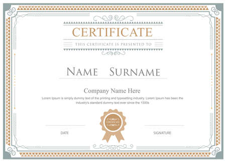 antique gold frame: Certificate flourishes elegant template