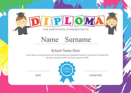 graduacion caricatura: Certificado de preescolar Niños diploma de escuela elemental fondo de la plantilla de diseño
