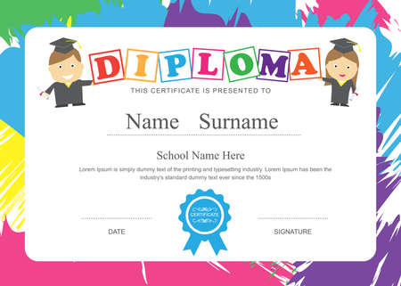 cartoon human: Kids diploma preschool certificate elementary school design template background