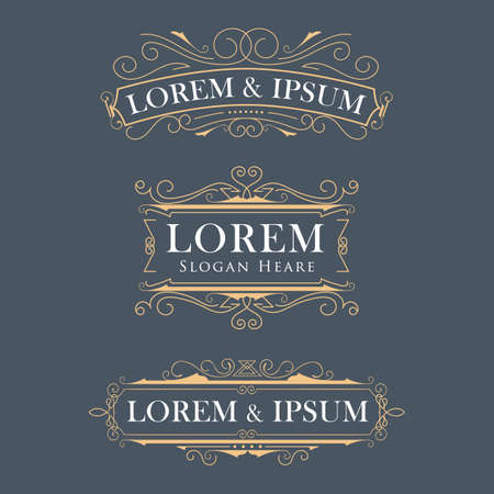 Luxury crown frame modern logos flourishes calligraphy elegant template